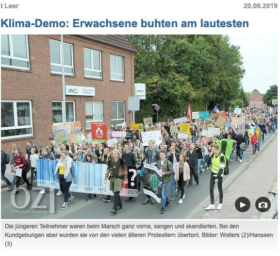 Screenshot der Ostfriesenzeitung zur Fridaysforfuture in Leer om gestrigen Tage Foto(c) Wolters